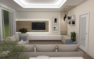 Vizualizace obývacího pokoj s kuchyní a jídelnou
