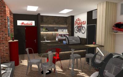 Vizualizace prodejny motorek s malou kavárnou